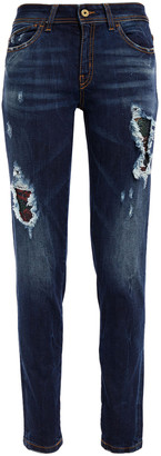 Just Cavalli Distressed Faded Mid-rise Skinny Jeans