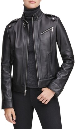 Andrew Marc Stand Collar Leather Moto Jacket