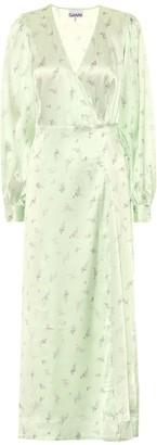 Ganni Floral stretch-satin dress