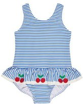 Florence Eiseman Skirted One-Piece Striped Seersucker Swimsuit, Blue, Size 6-24 Months