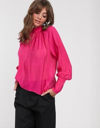 InWear Cordelia high neck drapey blouse