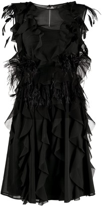 Alberta Ferretti Feather-Detail Shift Dress