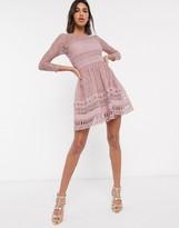 Asos Design DESIGN Premium lace mini skater dress in mink