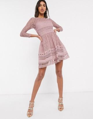 ASOS DESIGN Premium lace mini skater dress in mink