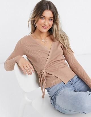 Brave Soul ribbed wrap front knitted top in almond