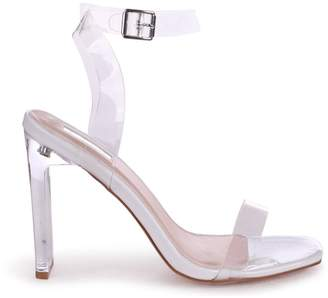 Linzi EVIE - White Patent All Over Perspex Slim Heeled Sandal With Square Toe
