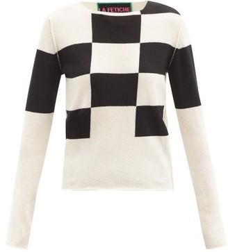 La Fetiche - Tuffin Check Lambswool Sweater - White Black