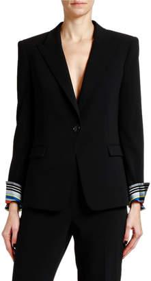 Giorgio Armani Lightweight Wool Jacket w/ Striped Cuffs