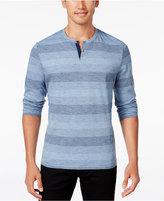 Alfani Men's Striped Slub Cotton-Blend Long-Sleeve Henley