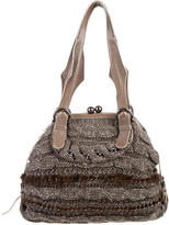 Salvatore Ferragamo Bouclé & Fur Shoulder Bag
