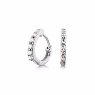 Lily & Roo Small Sterling Silver Diamond Style Huggie Hoop Earrings
