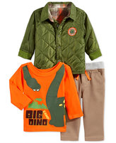 Nannette 3-Pc. Quilted Jacket, Dino T-Shirt & Pants, Baby Boys (0-24 months)