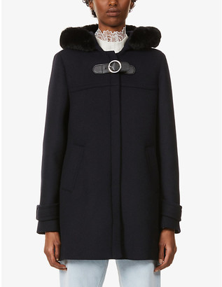 Claudie Pierlot Genn faux fur-trimmed wool-blend coat