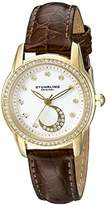Stuhrling Original Women's Quartz Watch with White Dial Analogue Display and Brown Leather Strap 561.04