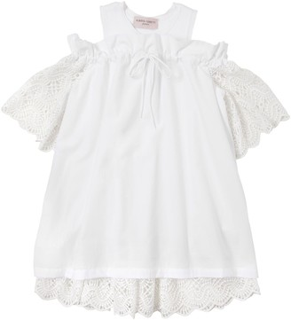 Alberta Ferretti Cotton Poplin & Macrame Lace Dress