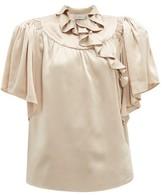 Preen by Thornton Bregazzi Quinn Ruffled Silk Blouse - Womens - Light Brown