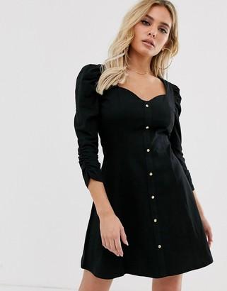 ASOS DESIGN puff sleeve popper front tea dress in black