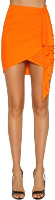 Alexandre Vauthier Ruched Stretch Jersey Mini Skirt
