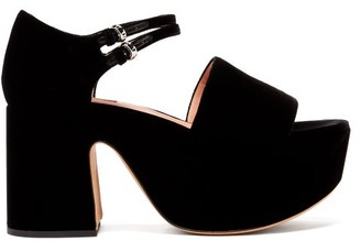 Rochas Buckled Velvet Platform Sandals - Black