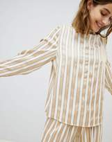 Selected Metallic Striped Top With High Neck