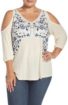 Lucky Brand Plus Size Women's Cold Shoulder Embroidered Peasant Top
