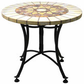 OUTDOOR INTERIORS Outdoor Interiors 24 in. Marble Mosaic End Table with Metal Base