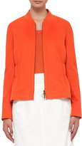 Akris Punto Gathered-Waist Zip-Front Jacket, Peach