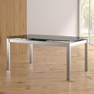 Orren Ellis Wafford Tempered Glass Top Extendable Dining Table Orren Ellis