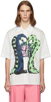 Marni White Pinstripe Print Short Sleeve Shirt