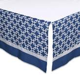 The Peanut Shell Geometric Crib Skirt in Navy/Grey