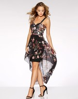 Quiz Floral Chiffon Dip Hem Dress