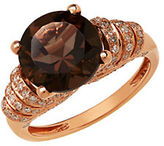 Lord & Taylor 14K Rose Gold Smokey Quartz and Diamond Ring