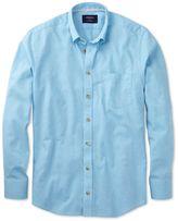 Charles Tyrwhitt Classic Fit Aqua Blue Cotton Casual Shirt Single Cuff Size Small