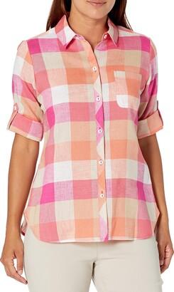 Foxcroft Women's Tamara Petite Size 3/4 SLV Easy Care Boardwalk Check Linen Shirt