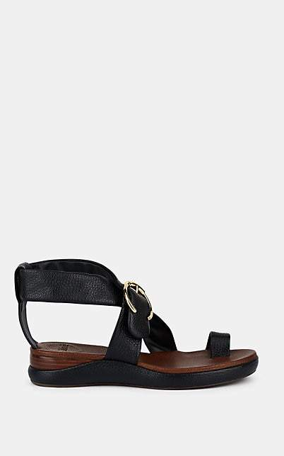 Chloé Women's Crisscross-Strap Leather Wedge Sandals - Black