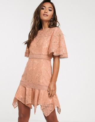 Keepsake lonely lace mini dress-Brown