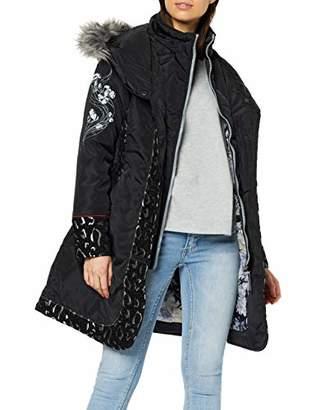 Joe Browns Womens Floral Winter Coat with Faux Fur Hood Black