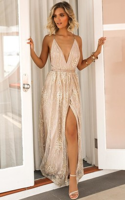 Showpo New York Nights maxi dress in gold - 12 (L) Engagement Dresses