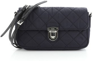 Prada Pushlock Flap Crossbody Bag Quilted Tessuto with Saffiano Small