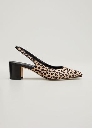 Manolo Blahnik Allurasa Leopard-Print Slingback Pumps