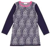 "Simple ""Utica"" Zebra Sweater Dress in Navy"
