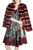 Rachel Roy Striped Faux Fur Coat