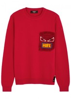 Fendi Red Printed Wool Jumper