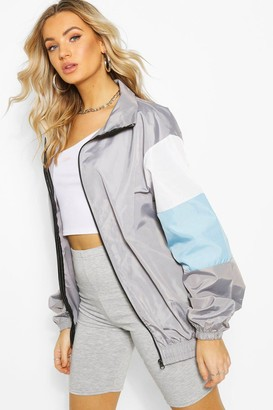 boohoo Oversized Colour Block Arm Shell Zip Through Jacket
