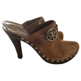 Christian Dior Brown Suede Mules Clogs