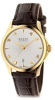 Gucci Men's Swiss Automatic Gold-Tone and Leather Dress Watch, Color:Brown (Model: YA126470)