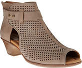 Earth Suede Perforated Peep-toe Booties -Intrepid