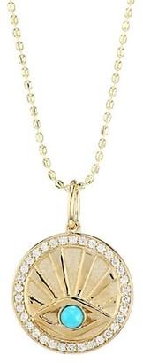 Sydney Evan 14K Yellow Gold, Diamond Turquoise Evil Eye Coin Necklace