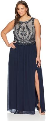 Adrianna Papell Women's Plus Size Beaded Sleeveless Long Dress with Full Skirt