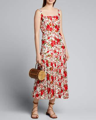 Alexis Amal Pleated Rose-Print Sleeveless Dress